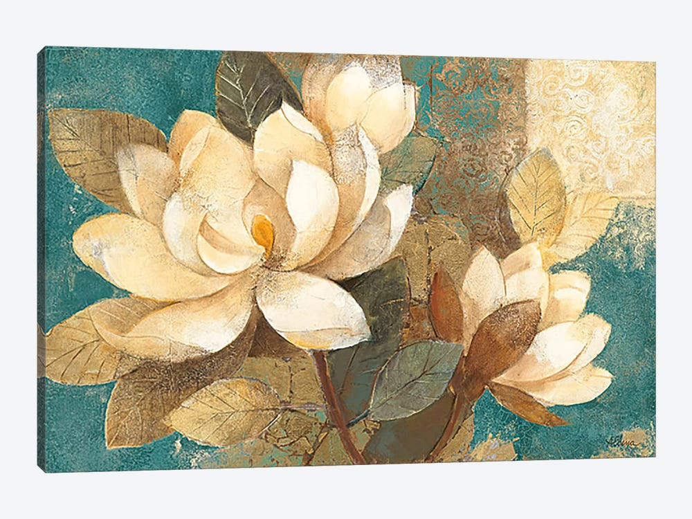 Turquoise Magnolias by Albena Hristova 1-piece Canvas Art
