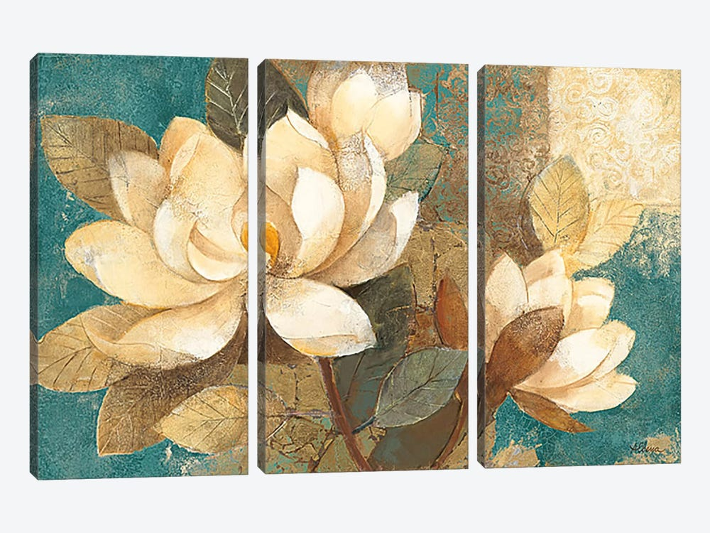 Turquoise Magnolias by Albena Hristova 3-piece Canvas Artwork