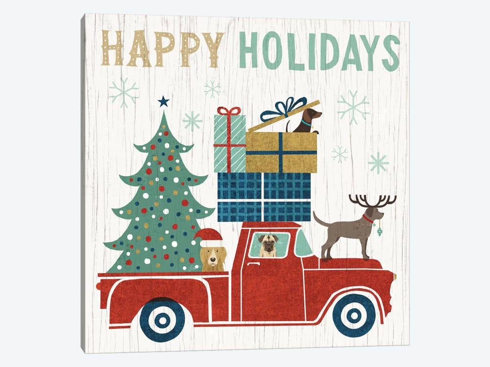 Holiday On Wheels Series: Happy Holidays I by Michael Mullan 1-piece Canvas Wall Art