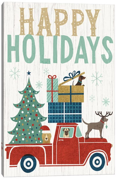 Holiday On Wheels Series: Happy Holidays II Canvas Print #WAC4307