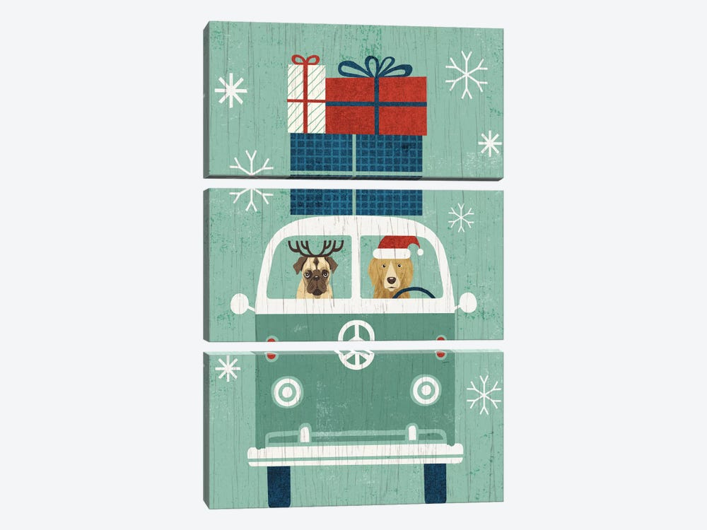 Holiday On Wheels Series: Santa's Helpers by Michael Mullan 3-piece Canvas Art