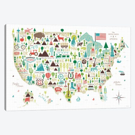 Illustrated USA Map Canvas Print #WAC4317} by Michael Mullan Canvas Art