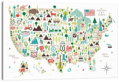 Illustrated USA Map by Michael Mullan Canvas Art