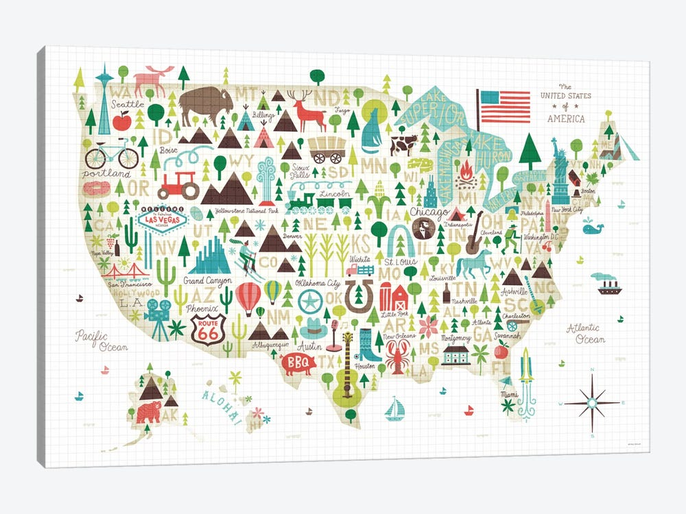 Illustrated USA Map By Michael Mullan 1 Piece Canvas Wall Art ...