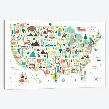 Illustrated USA Map Canvas Print #WAC4317} by Michael Mullan Canvas Art