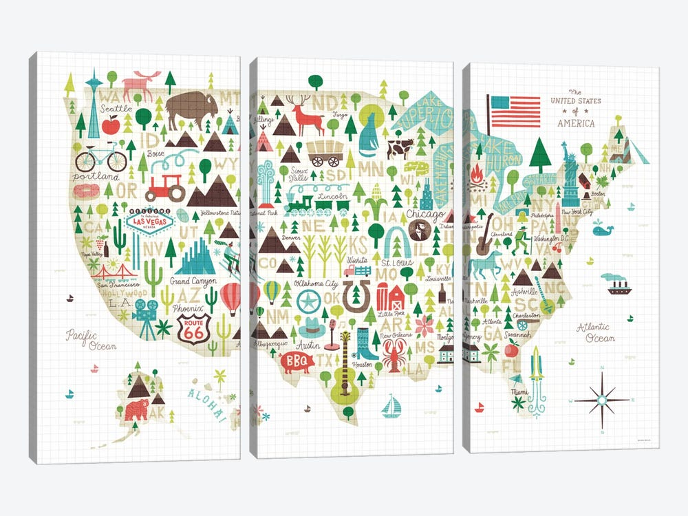 Illustrated USA Map by Michael Mullan 3-piece Canvas Art