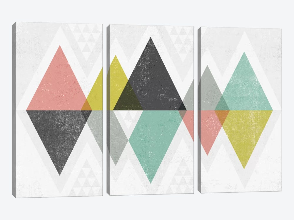 Mod Triangles II by Michael Mullan 3-piece Art Print