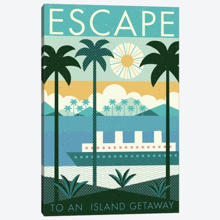 Vintage Travel Poster: ESCAPE Canvas Print #WAC4332} by Michael Mullan Canvas Art Print