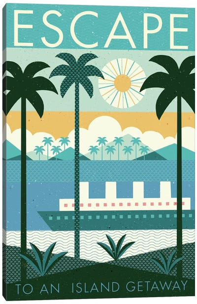 Vintage Travel Poster: ESCAPE Canvas Art Print