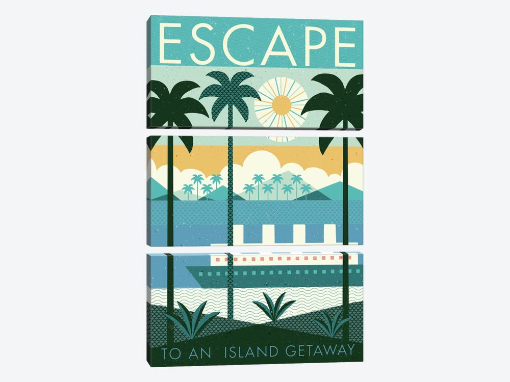 Vintage Travel Poster: ESCAPE 3-piece Art Print