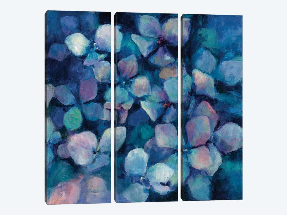 Midnight Blue Hydrangeas by Marilyn Hageman 3-piece Canvas Wall Art