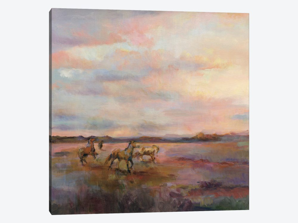 Mustangs Under The Big Sky by Marilyn Hageman 1-piece Canvas Print
