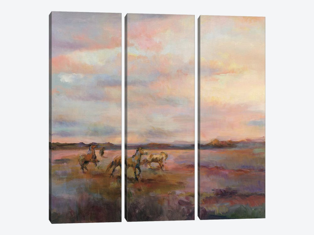 Mustangs Under The Big Sky by Marilyn Hageman 3-piece Art Print