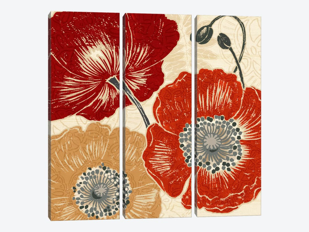 A Poppys Touch II by Daphne Brissonnet 3-piece Canvas Wall Art
