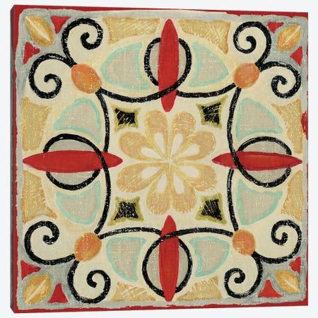 Bohemian Rooster Tile II  Canvas Print #WAC441} by Daphne Brissonnet Canvas Art
