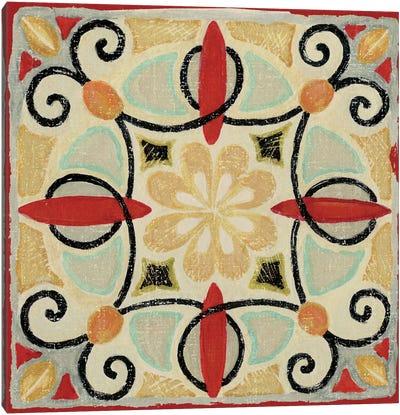 Bohemian Rooster Tile II  Canvas Art Print