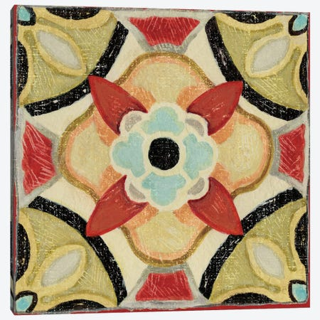 Bohemian Rooster Tile IV  Canvas Print #WAC443} by Daphne Brissonnet Canvas Wall Art