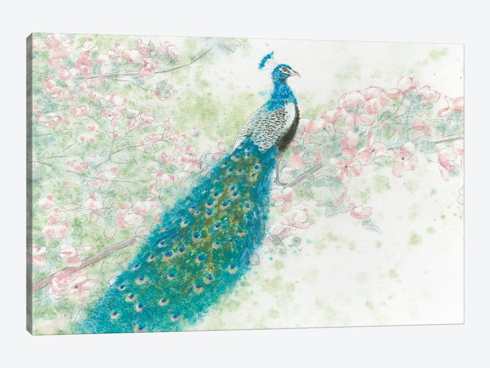 Spring Peacock I Pink Flowers by James Wiens 1-piece Canvas Print