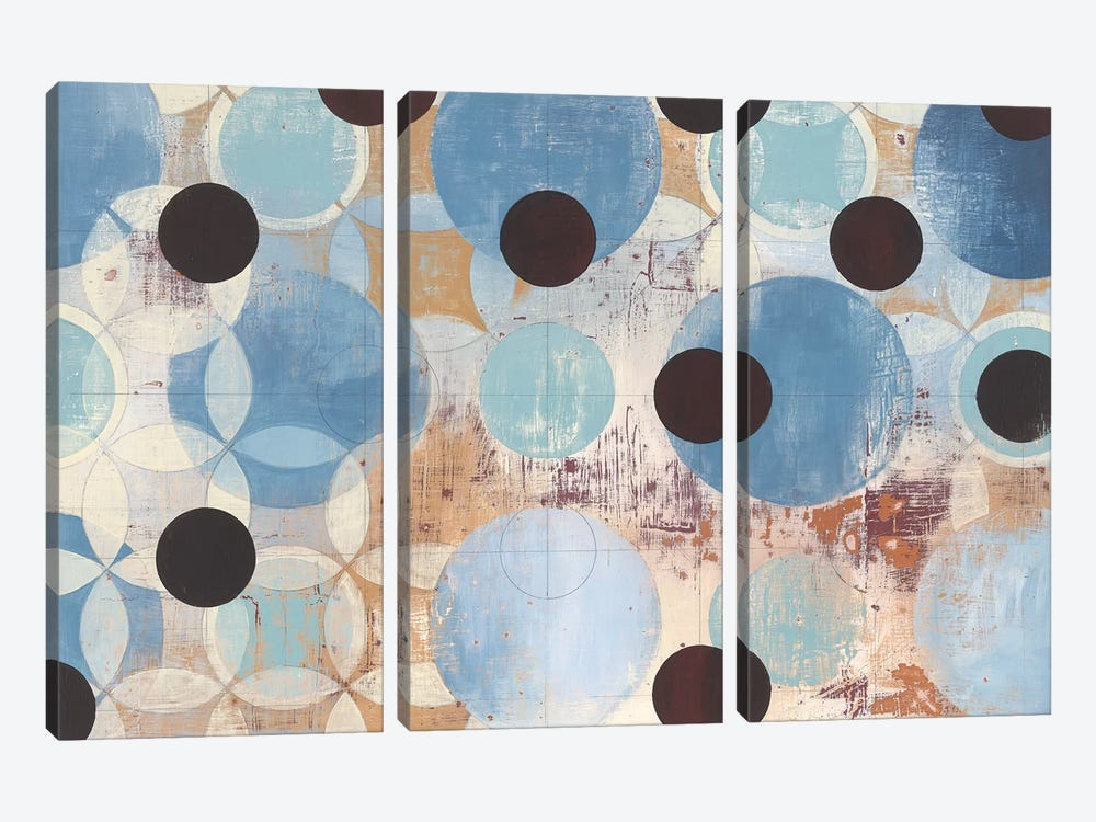 Blue Dots by Kathrine Lovell 3-piece Art Print