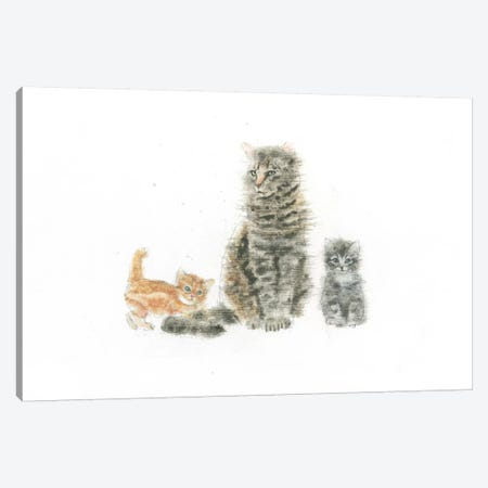 Cat And Kittens Canvas Print #WAC4464} by Emily Adams Canvas Art