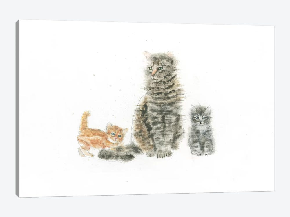 Cat And Kittens by Emily Adams 1-piece Art Print