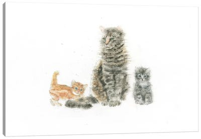 Cat And Kittens Canvas Art Print