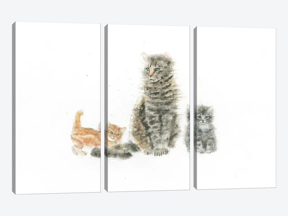 Cat And Kittens by Emily Adams 3-piece Canvas Art Print
