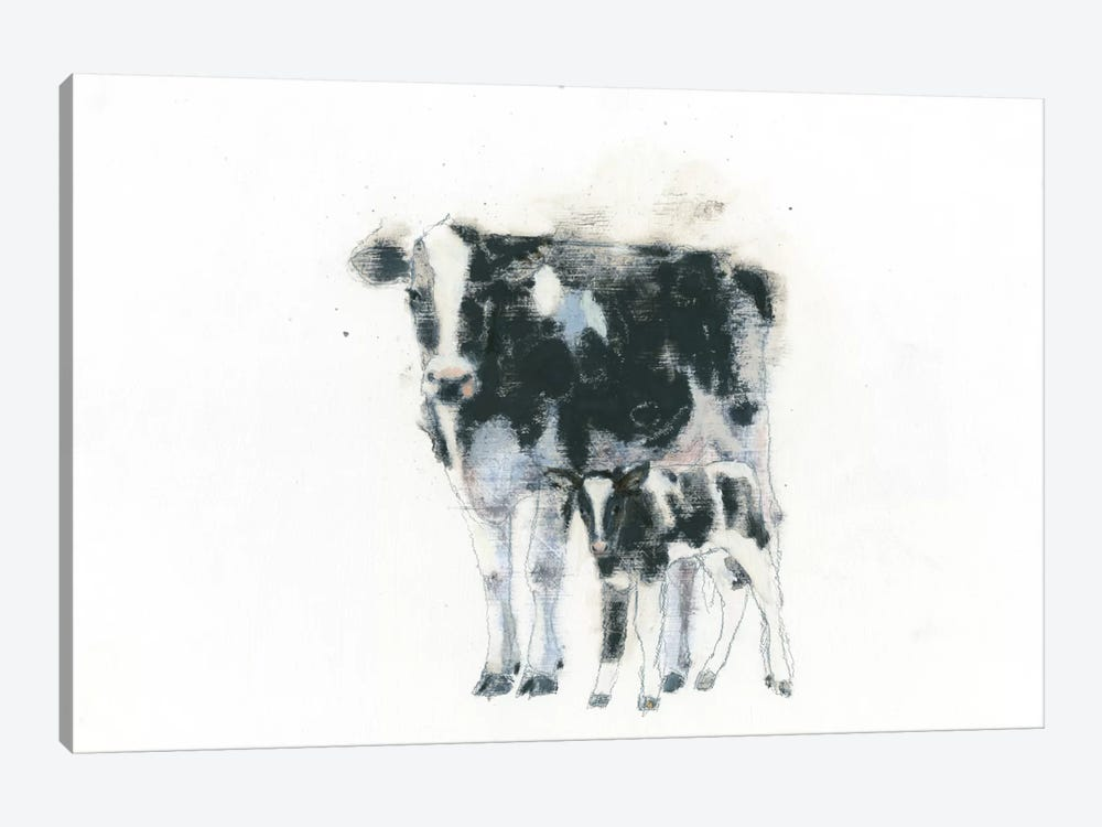 Cow And Calf by Emily Adams 1-piece Canvas Wall Art