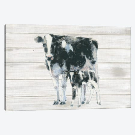 Cow And Calf On Wood Canvas Print #WAC4466} by Emily Adams Canvas Wall Art