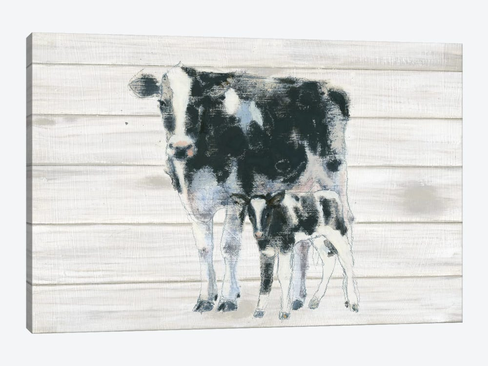 Cow And Calf On Wood by Emily Adams 1-piece Canvas Art Print