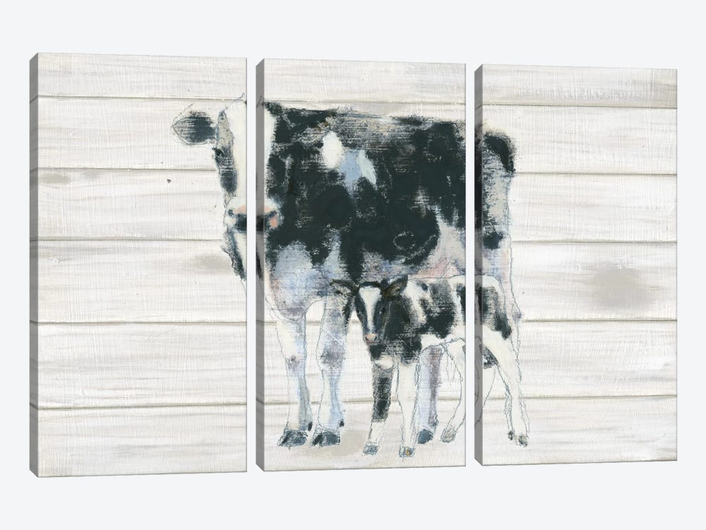 Cow And Calf On Wood by Emily Adams 3-piece Art Print