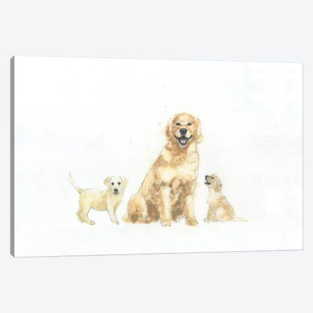 Dog And Puppies Canvas Print #WAC4467} by Emily Adams Canvas Artwork