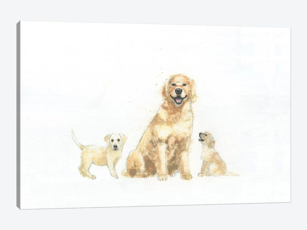 Dog And Puppies by Emily Adams 1-piece Canvas Wall Art