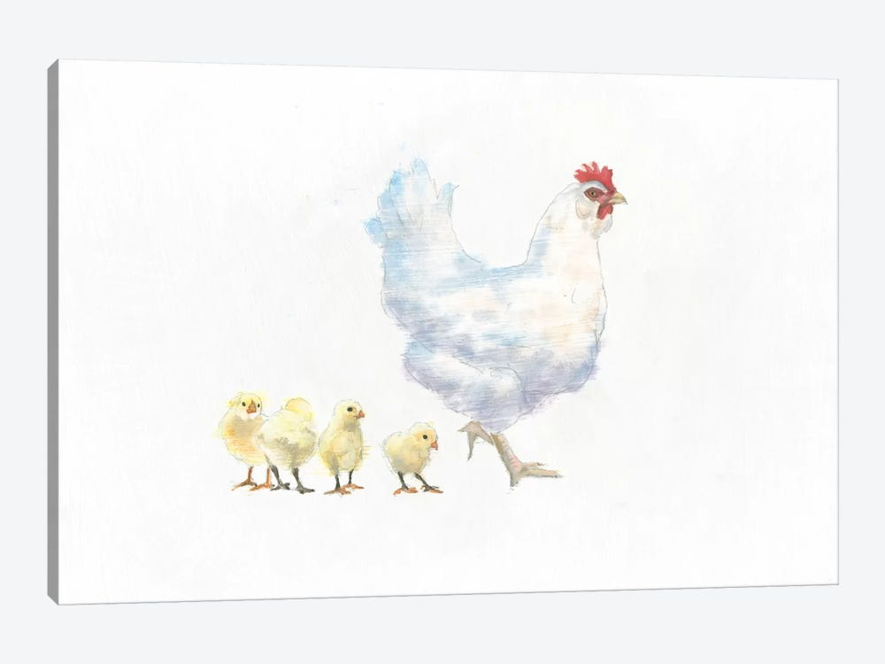 Hen And Chickens by Emily Adams 1-piece Canvas Artwork