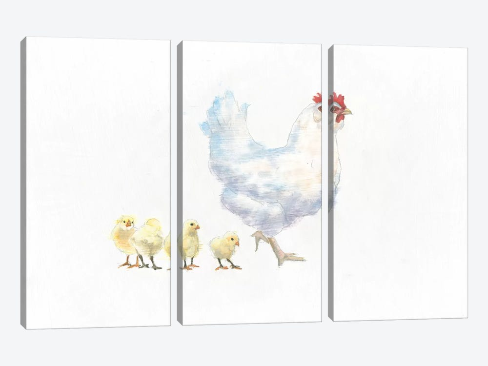 Hen And Chickens by Emily Adams 3-piece Canvas Art