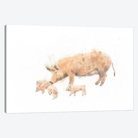Pig And Piglet Canvas Print #WAC4472} by Emily Adams Canvas Wall Art
