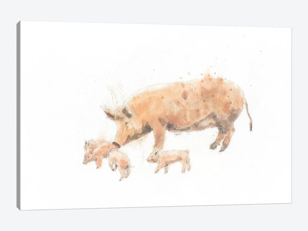Pig And Piglet by Emily Adams 1-piece Canvas Wall Art