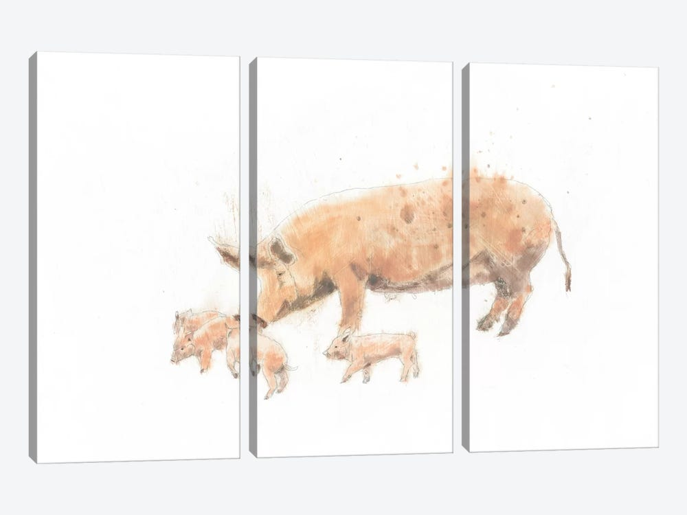 Pig And Piglet by Emily Adams 3-piece Canvas Wall Art