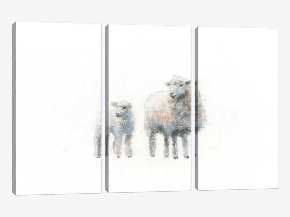 Sheep And Lamb by Emily Adams 3-piece Canvas Art Print