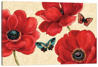 Petals and Wings on Beige I  Canvas Print #WAC448