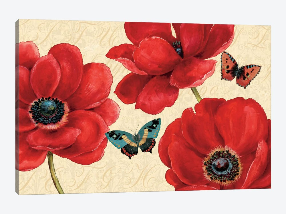 Petals and Wings on Beige I by Daphne Brissonnet 1-piece Canvas Print