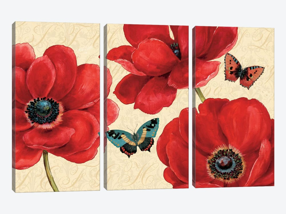 Petals and Wings on Beige I by Daphne Brissonnet 3-piece Art Print