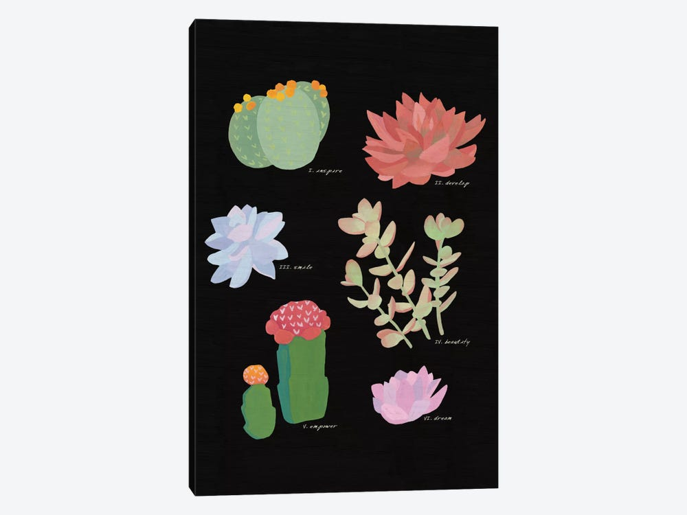 Succulent Plant Chart V 1-piece Canvas Art