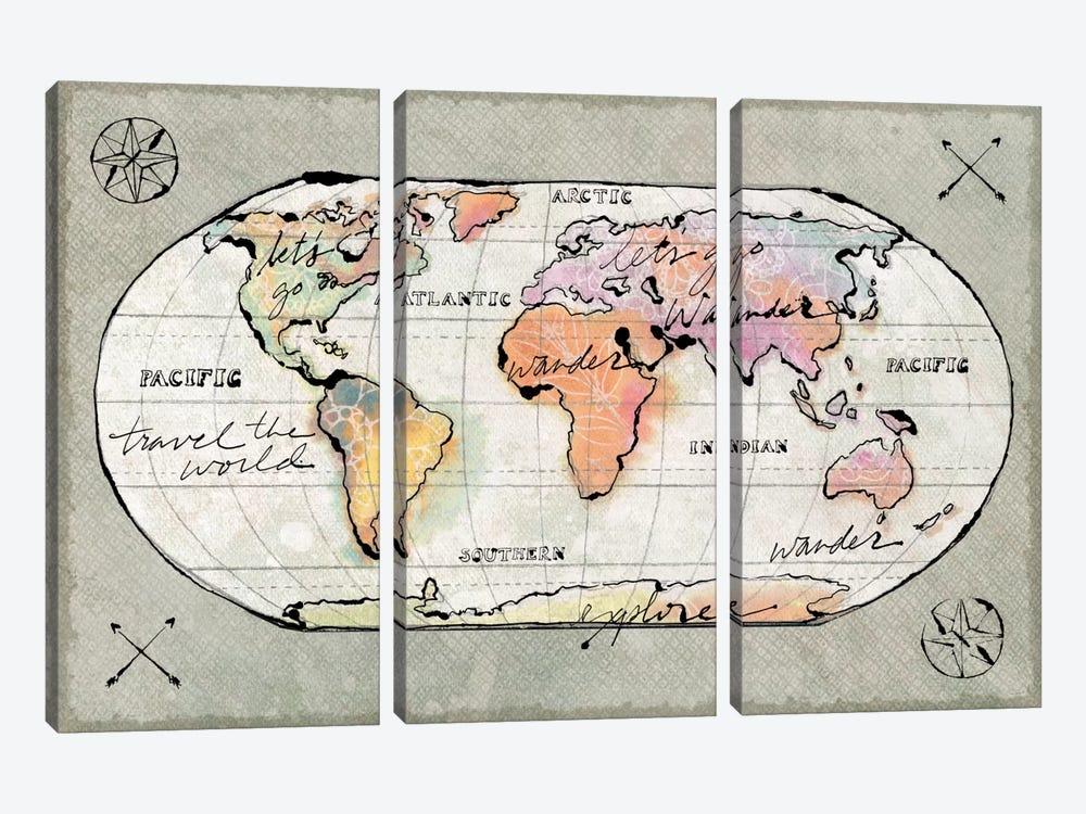 Mapped Shorelines II by Sue Schlabach 3-piece Canvas Art