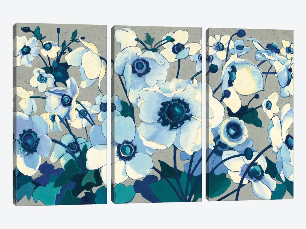 Anemones Japonaises I by Shirley Novak 3-piece Canvas Art Print