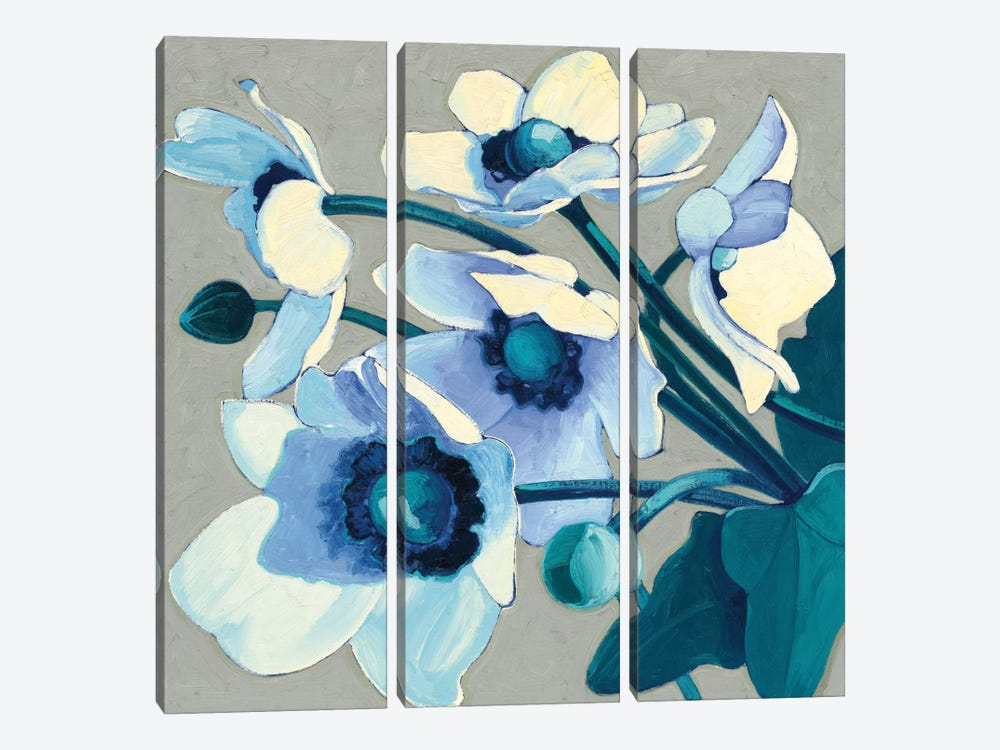 Anemones Japonaises III by Shirley Novak 3-piece Canvas Wall Art