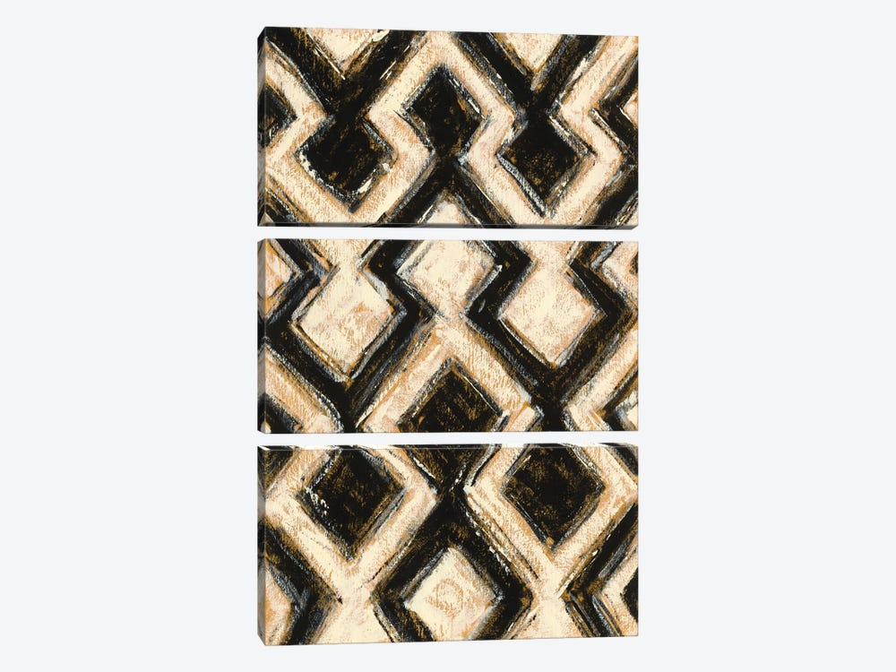 Black And Gold Geometric III by Shirley Novak 3-piece Canvas Artwork