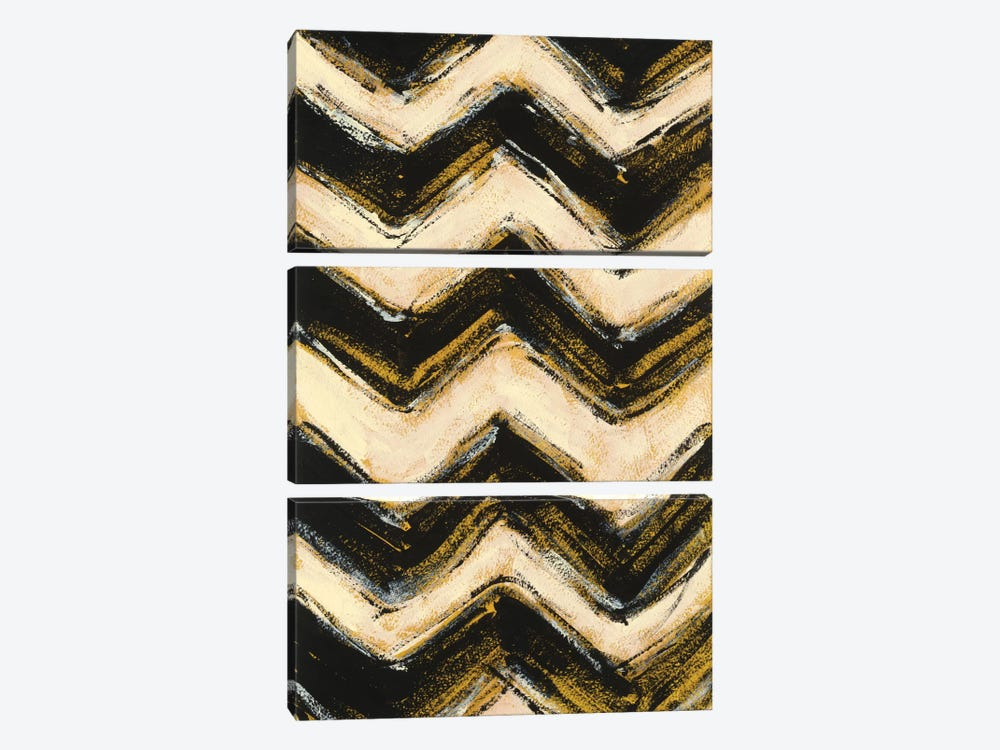 Black And Gold Geometric IV by Shirley Novak 3-piece Art Print
