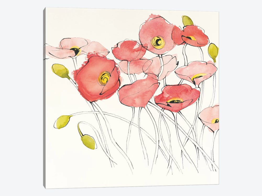 Black Line Poppies I by Shirley Novak 1-piece Canvas Art