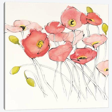 Black Line Poppies I 3-Piece Canvas #WAC4575} by Shirley Novak Canvas Art